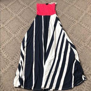 BNWT - aqua pink, navy and white dress